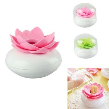PEAPYN5 2016 Toothpick Case  Lotus Flower Cotton Bud Holder Toothpick Case Cotton Swab Box Vase Decor