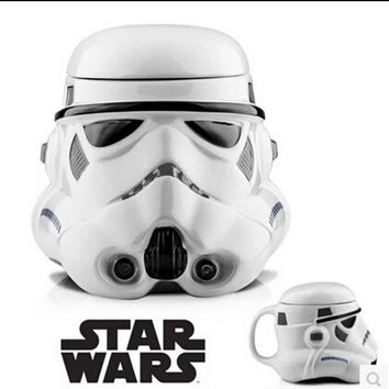 380 ml Star Wars Stormtrooper Helmet 3D Plastic Mug with Lid Milk Coffee Darth Vader Cup Gift Box Package RY1508