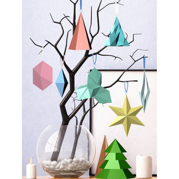 Printable DIY template (PDF). Christmas decorations Low poly style.