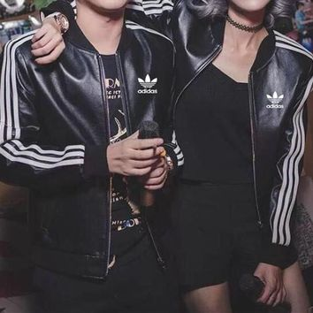 """Adidas"" Unisex Fashion Stripe Locomotive Baseball Clothes Couple Long Sleeve Zip Cardigan PU Leather Jacket Coat"