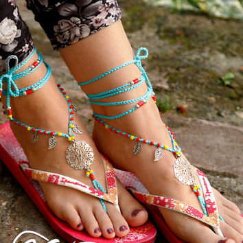 Barefoot Sandals. Blue Hippie Shoes. Silver Gypsy Bellydance Shoes