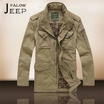 Trendy Flaow afs jeep Winter/Autumn Thick Cotton Jacket,Shoulder Band Man's Cargo bolsillo militar long jackets,Field Motor biker coat AT_94_13