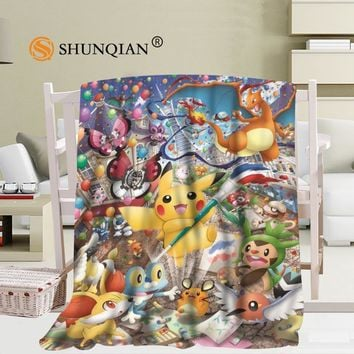 Custom  blanket Flannel Falafel Fabric 58x80inch 50X60inch 40X50inch Sofa Bed Throw Blanket Kid Adult Warm BlanketKawaii Pokemon go  AT_89_9