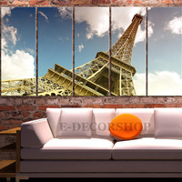 Large Wall Art Canvas Print Eiffel Tower Landscape - Canvas Art Eiffel - Canvas Wall Art Paris France - 5 Panel
