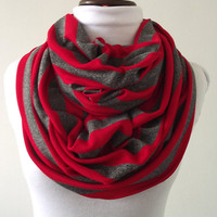 Infinity Scarf Red and Gray Stripes, Cotton Knit Scarf, Jersey, Circle Scarf, Loop Scarves