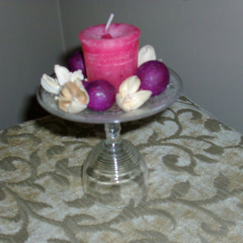 Repurposed Wine / Cordial Glass And Small Plate Candle Holder Trinket Dish