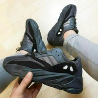 Adidas Yeezy 700 Runner Boost Popular Women Men Casual Running Sport Shoes Sneakers Black I/A