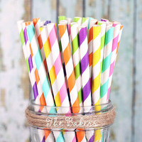 Girls Rainbow Stripe Paper Straws, Rainbow Party Straws, Retro Straws, Vintage, Drinking Straws, Party Straws, Barber Stripe Straws (30 ct)