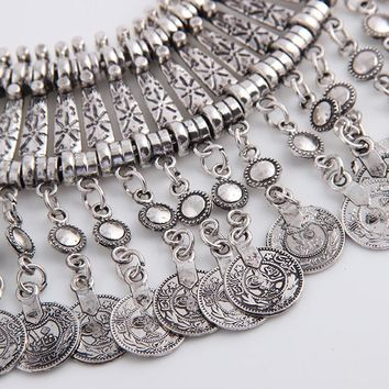 Noble Roman Dangling Coin Collar Necklace, Bracelet and Earrings Set