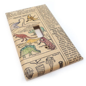 Dinosaur light switch cover vintage dictionary by summittdesigns