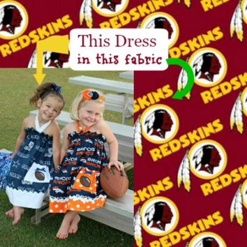 Girls Washington Redskins Cheerleader Dress, Baby Girls Football Game Day Dress, Newborn to size 10/11