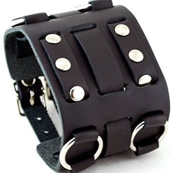 RoseCo Wide Black Leather Tri Clasp Cuff Wrist Watch Band