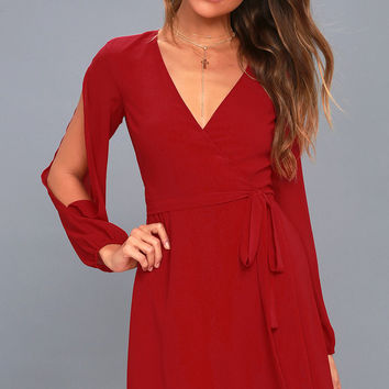 Told You So Wine Red Long Sleeve Wrap Dress