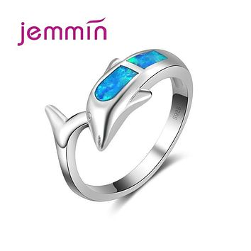 Jemmin Exquisite Lovely Animal Silve Ring 925 Sterling Silver Loop Inlaid Fashion Opal Stone Dolphin Shape Best Gift Hot Sell