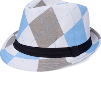 Blue and Brown Plaid Baby Prop Fedora Hat - CCHT105