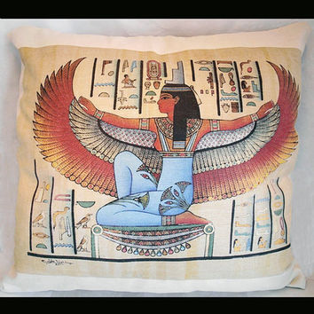 egyptian isis wings pillow Cover decorative throw pillows zippered pillow Pharaoh Isis Wings,Hieroglph Pillow Cover,old egypt pillow
