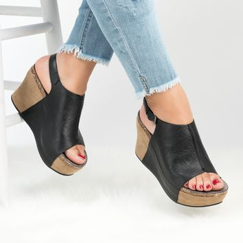 Peep Toe Wedge Sandals - Black