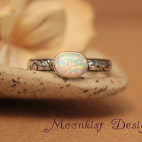 Unique Engagement Ring - Bezel-set Opal Oval with Silver Pattern Band - Opal Solitaire in Sterling with Floral Band - Floral Promise Ring
