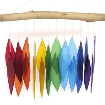 Artisan Made Rainbow Santa Fe Glass Wind Chime