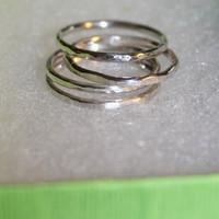 FREE SHIPPING Stackable Hammered Sterling Silver Rings