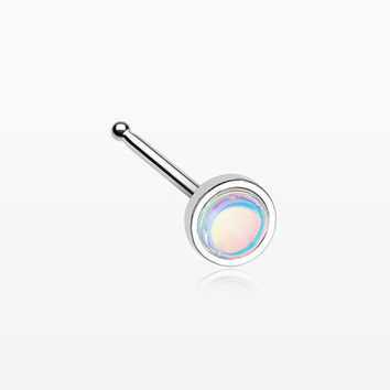 Bezel Set Iridescent Revo Sparkle Nose Stud Ring
