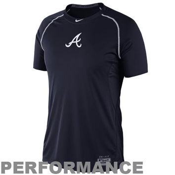 Nike Atlanta Braves Pro Combat Core Raglan Performance T-Shirt - Navy Blue