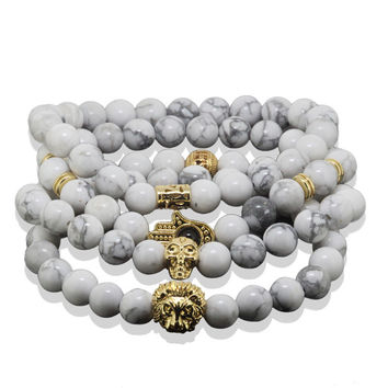 1Lot New White Turquoise Stone Bracelet 24K Real Gold Plated Lion Skull Head Bracelet Men Jewelry Buddha Yoga Bracelet