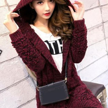 Claret Colored Hooded Long Sleeve Pocket Design Cardigan