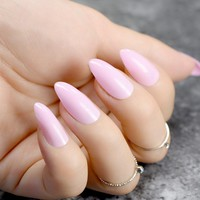 24pcs Solid Baby Pink Oval Sharp end Stiletto False Nails Light Pink Pointed Fake Nails Tips Manicure Artificial Nails Salon