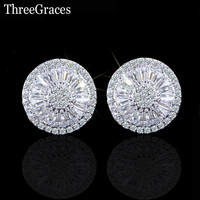 Fashion Famous Brand Ladies Jewelry Full Cubic Zirconia Diamond Paved Setting Big Round Stud Earrings For Women ER184