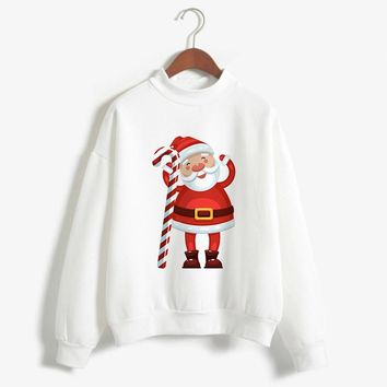 2018 Winter Pullover Ugly Christmas Sweaterclothes Women Turtleneck Print Long Sleeve Loose Tops