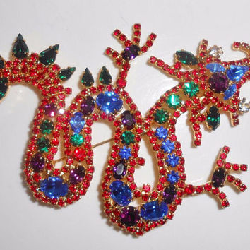 Chinese Dragon Brooch Pin Rhinestone Large Statement Vintage 1980's Red Blue Green Rhinestones Figural Jewelry