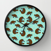 Platypus Love Wall Clock by Joanne Paynter