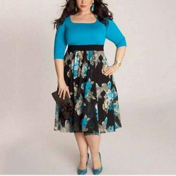 Plus Size Dress Half Sleeve Women'S Long Evening Party Office Prom Gown Floral Formal Vestidos