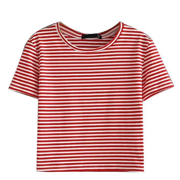 Red Stripe Short Sleeve Cropped T-shirt
