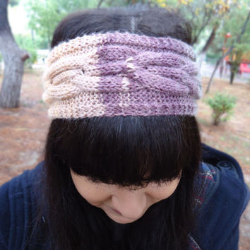 Cable knit wool headband, knit womens headband, knit ear warmer, womens knit head wrap, colorful knit headband, womens accessories, knitwear