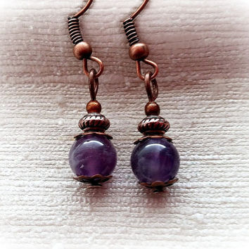 Amethyst Earrings, Copper Earrings, Gemstone Earrings, Amethyst And Copper Earrings, Dainty Earrings, Simple Earrings ELEMENTS Collection