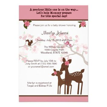 Willow Deer Baby Shower Invitation forest PINK from Zazzle.com