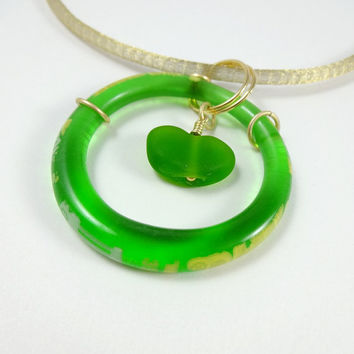 Green Recycled Glass Pendant Gold Mesh Cord