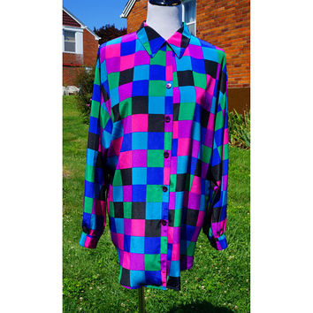 Vintage 80s Long Blouse, Multi Color Checks, Tunic Length Shirt, Preppy New Wave Style. Geometric Checkered, Button down, Silky feel.