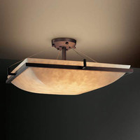 Justice Design Group CLD-9782-25-DBRZ-LED-5000 24-Inch Square 5000 Lumen LED Semi-Flush Mount with Ring