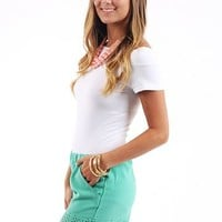 Diamond Cut Out Shorts, seafoam