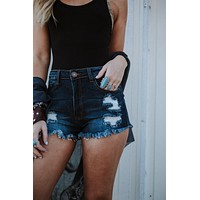 High Waisted Jean Shorts - Dark Wash
