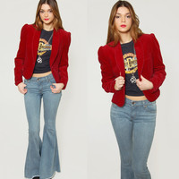 Vintage 80s VELVET Jacket Burgundy Tiny Fit Crop Blazer