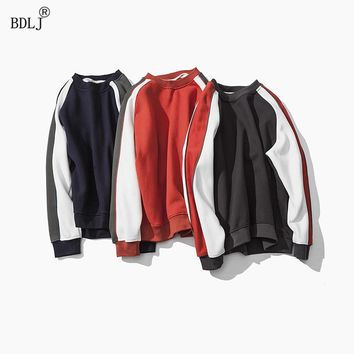 BDLJ2017 Autumn Fashion Brand Casual Sweatshirt O-Neck Patchwork Slim Fit Knitting Mens Hoodies And Pullovers Men Pullover S-4XL