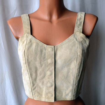 Vintage Leather Suede Sandy Top Corset Armani Jeans Original Vintage Sexy Fringe Top Cropped Tops Cowgirl Suede Leather Tank Bustier