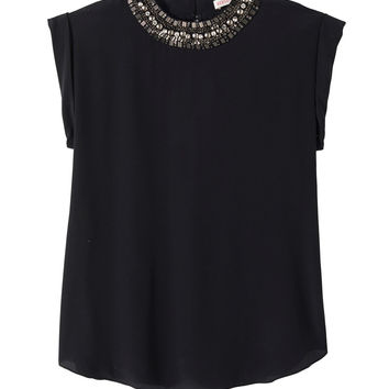 Embellished Neck Top | Rebecca Taylor