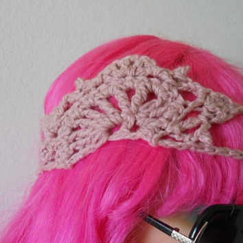 Hippie Crochet pink shell headband