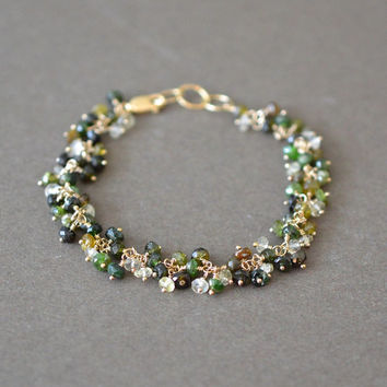 Green Gemstone Bracelet, Green Tourmaline Cluster Beaded Bracelet, Gold Fill, Artisan Jewelry, 7 Inch