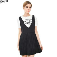 Women 2 Colors Double V Neck Sleeveless Pleated Skater Mini Dress Cute A Line Sundress  Summer New Fashion Empire Clothing
